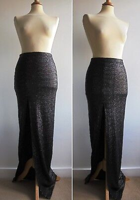 ASOS Black Sequined Maxi Skirt Sexy Deep Front Split Party Evening Wear Size 8 • 14.99£