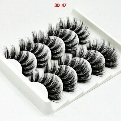 5 X Pairs Mink 3D Wispy Cross Long Thick Fake Eyelashes • 3.45£
