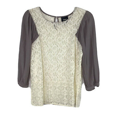 $ CDN31.84 • Buy Anthropologie Maeve Lace Top Shirt Long Sleeve  Size 8 Ivory Taupe