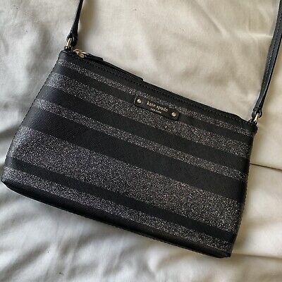 $ CDN48 • Buy Kate Spade Purse Shoulder Bag Crossbody Black Silver Glitter Sparkle Striped