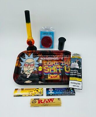 £19.99 • Buy Rick And Morty Smoke Arsenal Rolling Tray Gift Set Bong Grinder RAW Clipper New