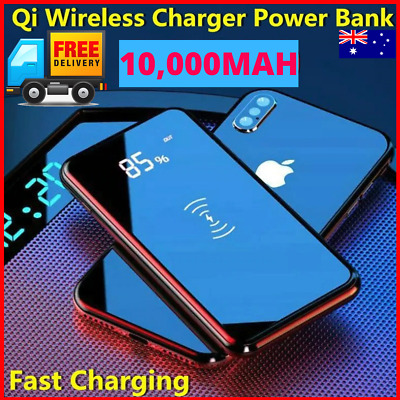 AU24.95 • Buy 10000mAh Power Bank Qi Wireless Charger Portable Battery LCD USB Charger 10000ma