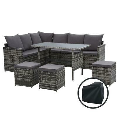 AU768.95 • Buy Gardeon Outdoor Furniture Dining Setting Sofa Set Wicker 9 Seater Storage Cover