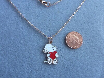 £4.99 • Buy Snoopy Love Heart Enamel Charm Pendant Necklace 18  Rose Gold Plated Chain Gift