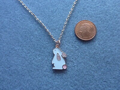 Cute Bunny Rabbit Enamel Charm Pendant Necklace 18  Rose Gold Plated Chain Gift • 3.99£