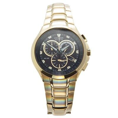 Citizen Men's Watch AT0902-59E Gold Plated Eco Drive Chronograph Brand New • 150.99£