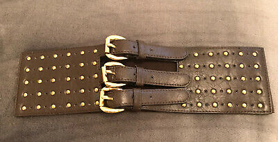 Brown Thick Elasticated Waist Belt Gold Buckle Gold Stud Detail Size S • 9.99£