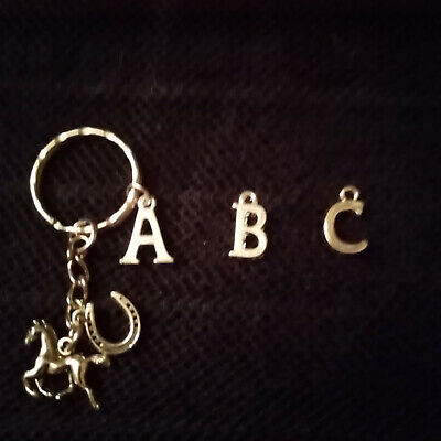 Silver Plated Horse Horseshoe And Initial Of Your Choice Keyring • 3.59£