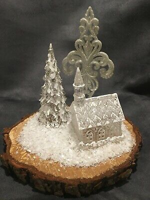 Christmas Table Decoration On Log With Church, Tree And Snow Flake Religious • 9.99£