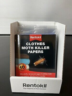 120 X Rentokil Clothes Moth Killer Papers - Ideal For Wardrobes & Drawers 12x10 • 35£