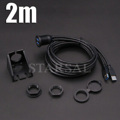 AU29.65 • Buy 2M Car Van Dashboard Flush Mount Dual USB 3.0 Male To Female Extension Cable