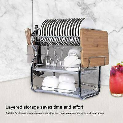 3 Tier Kitchen Dish Drainer Cutlery Cup Plates Holder Sink Rack Drip Tray UK • 15.59£
