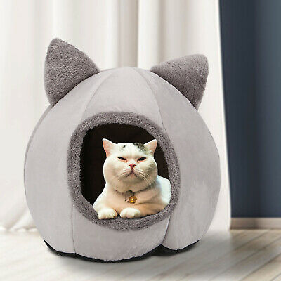 AU13.79 • Buy Cat House Bed New Pet Dog Large Beds Igloo Bedding Castle Round Nest Cave Grey