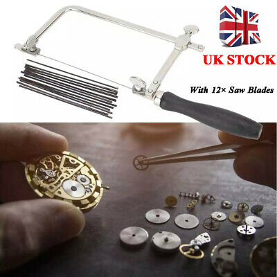 UK Adjustable Jewellers Piercing Saw Frame Jewellery Making Tool + 12 Saw Blade • 13.27£