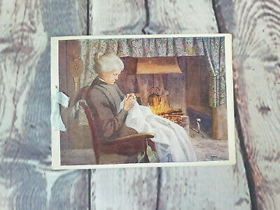 £2.99 • Buy Vintage Christmas Greeting Card, Old Lady Sitting Next To A Fire Place