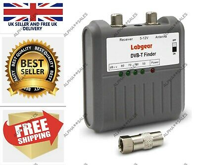 Labgear 27866R DVB T Signal Strength Finder Freeview HD TV Aerial Meter Tester • 14.99£