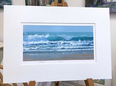 'Glassy Sea' 50x35cm Crashing Waves, Seascape Surfing Painting By J Pankhurst • 34£