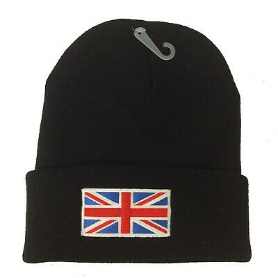 Union Jack UK Flag Embroidered Knitted Cuffed Unisex Beanie Winter Hat • 6.99£