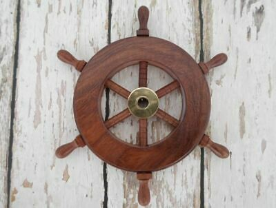 Collectible Nautical Wooden Ship Steering Wheel Pirate Wall Decor • 14.99£