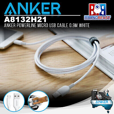 AU14.99 • Buy Anker A8132H21 PowerLine 0.9m Android Smartphones Micro USB Charging Cable White