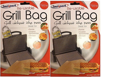 2 X Re-usable Grill Bag Toasted Sandwiches Paninis Fish Chicken • 3.49£