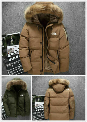 2021 Classic  Men's Winter Warm Thick Duck Down Jacket Snow Hooded Coat Parka UK • 37.99£