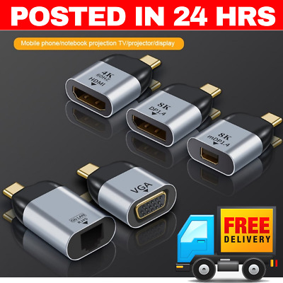 AU12.95 • Buy TYPE C To HDMI 8K VGA MINI DP RJ45  DISPLAYPORT Gigabit ETHERNET USB C ADAPTER