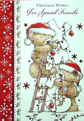 Cute Bears Hanging Lights  SPECIAL FRIENDS  Christmas Card • 0.99£