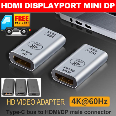 AU13.95 • Buy TYPE C FEMALE To HDMI MINI DP DISPLAYPORT USB C ADAPTER USB C CONVERTER PLUG