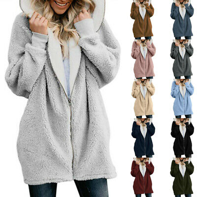 Womens Teddy Bear Hooded Coats Jacket Ladies Casual Long Sleeve Hoodie Plus Size • 17.39£