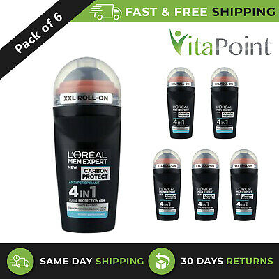 L'oreal Men Expert Carbon Protect Roll-on Anti-perspirant Deodorant 50ml 6 Pack • 15.85£
