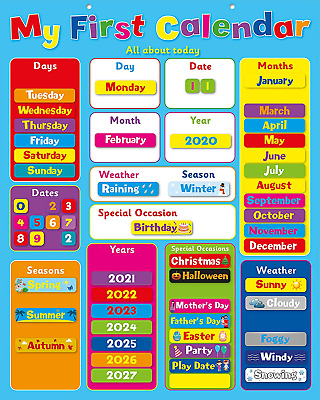 £17.19 • Buy Buddy & Barney | MY FIRST CALENDAR | Magnetic Wall Chart Extra Large 32 X 40cm