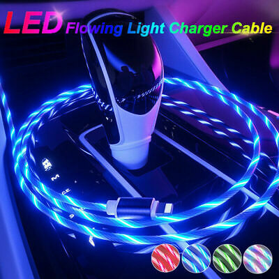LED Flowing Light Up Charge Cable For IPhone / Samsung / Android / Mobile Phone • 3.98£