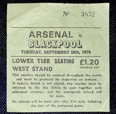 £12.99 • Buy 1976/77 Original LEAGUE CUP  Round 3 Match Ticket ARSENAL V BLACKPOOL