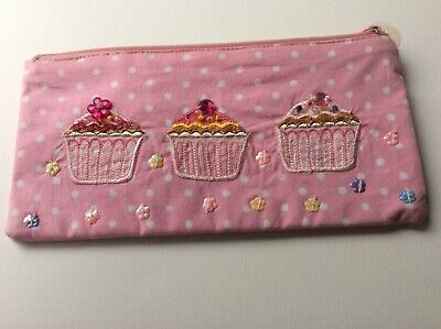 £3.99 • Buy Girls Pencil Case Pink Polka Dot Fairy Cakes Embroidered Beaded Stocking Filler