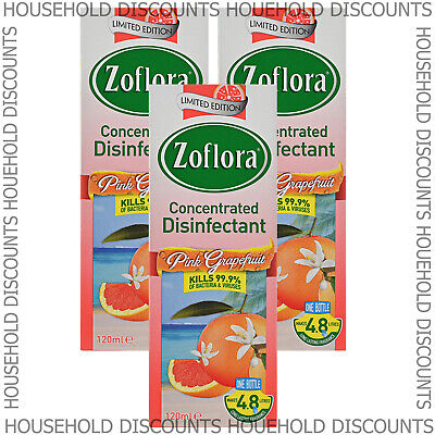£7.99 • Buy 3 X Zoflora Pink Grapefruit Concentrated Disinfectant Anti Bacterial 120ml