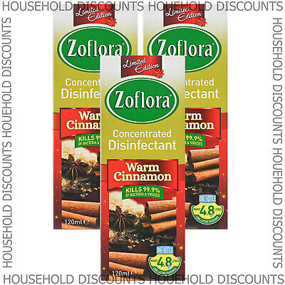 3 X Zoflora Warm Cinnamon Concentrated Disinfectant Anti Bacterial 120ml • 7.99£