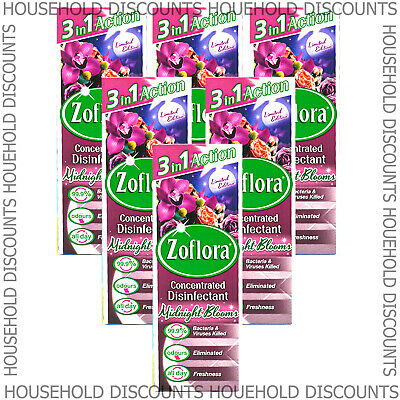 6 X Zoflora Midnight Blooms Concentrated Disinfectant Anti Bacterial Scent 120ml • 12.99£