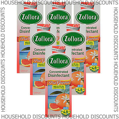 6 X Zoflora Pink Grapefruit Concentrated Disinfectant Anti Bacterial 120ml • 12.99£