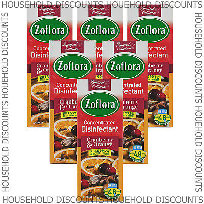 6 X Zoflora Cranberry Orange Concentrated Disinfectant Anti Bacterial 120ml • 12.99£