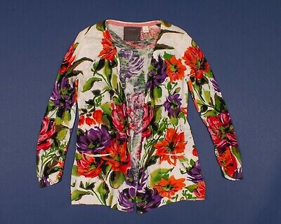 $ CDN35.33 • Buy Anthropologie Guinevere Light Weight Floral Cardigan Sweater Size M Medium