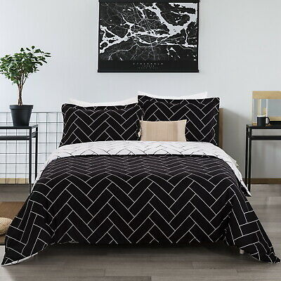 AU33.99 • Buy Checked Doona Duvet Quilt Cover Set Double/Queen/King/Super Size Bed Pillowcase