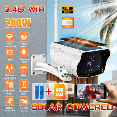 Wireless IP Camera Solar Power WiFi HD Night Vision Security Outdoor With Card • 58.79£