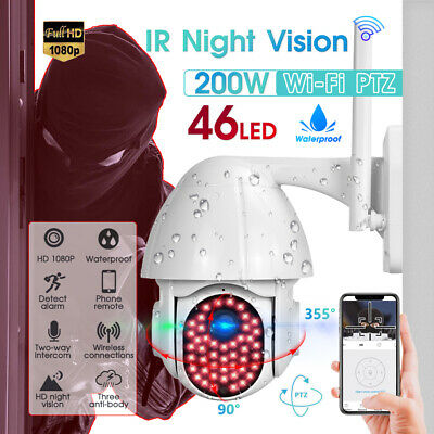 £31.19 • Buy Wired 1080P WIFI IP Camera Outdoor CCTV PTZ Home Security IR Cam 46 LED Light UK