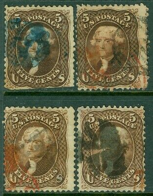 AU155.22 • Buy EDW1949SELL : USA 1863 Scott #76. 4 Stamps. Used. 3 Red, 1 Blue Cancels Cat
