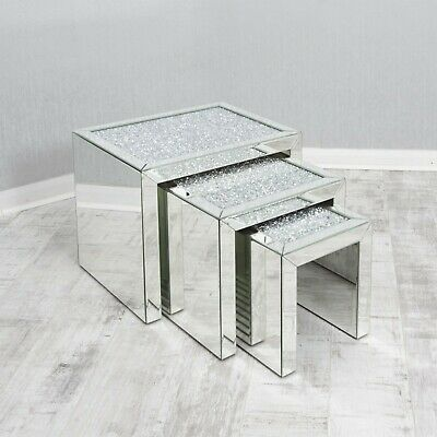 Mirrored Coffee Table Nest Of Tables Crushed Crystal Diamond Living Room Bling U • 297.99£