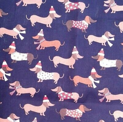 £3.15 • Buy Navy Blue Sausage Dog Christmas Fabric Poly Cotton Sewing Material Dachshund