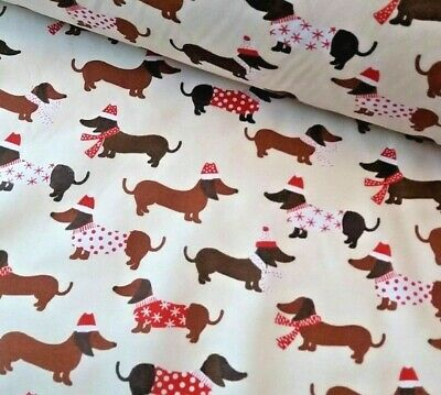 £3.15 • Buy Cream Sausage Dog Christmas Fabric Poly Cotton Sewing Material Dachshund
