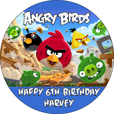 £3.95 • Buy Angry Birds Cake Topper Personalised Edible Angry Birds Birthday Cake Topper