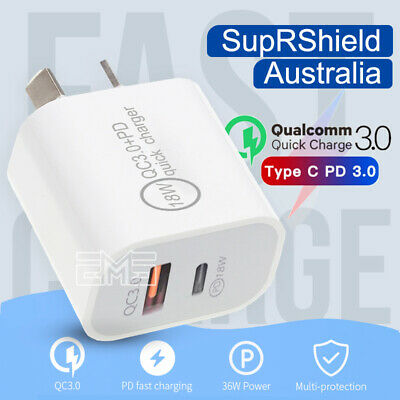 AU11.99 • Buy 18W PD + QC3.0 AU Plug USB-C Qualcomm Quick Charger For Android & For IPhone PRO
